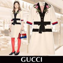 GUCCI Embroidered Wool Silk Dress 関税送料込