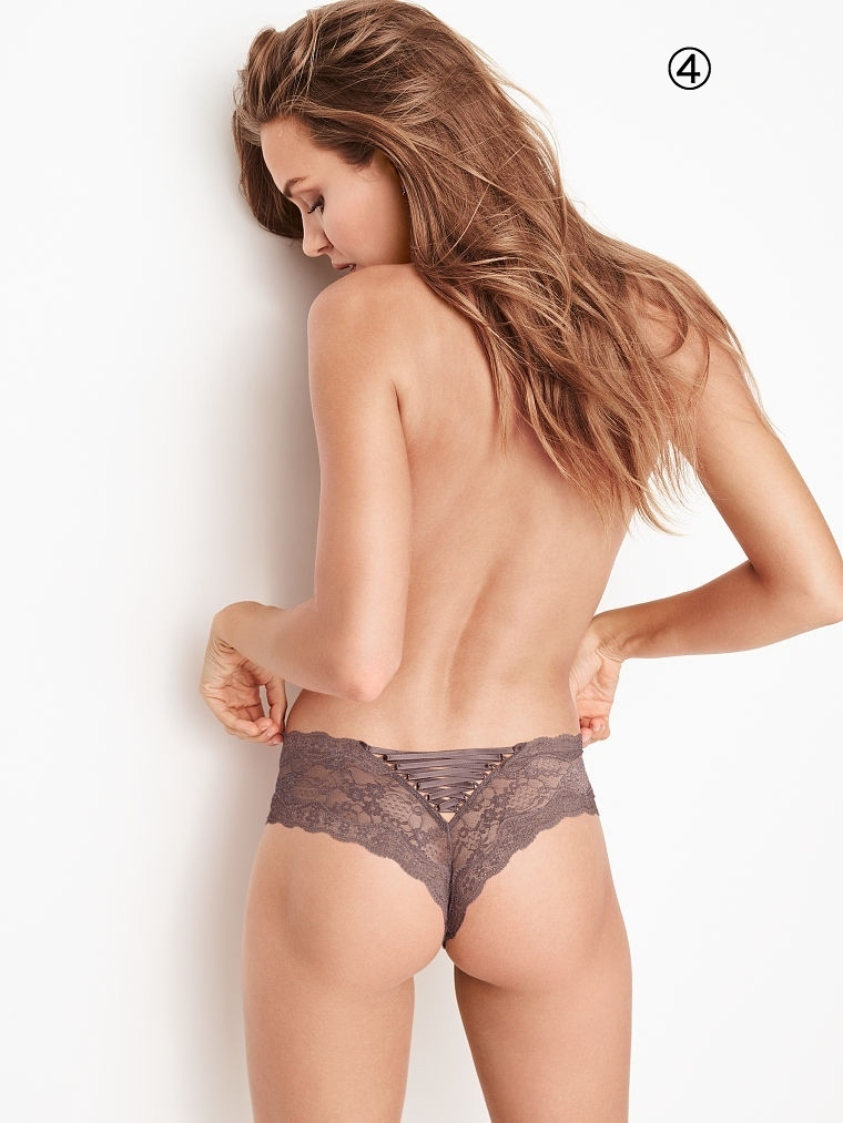 Victoria's Secret Floral Lace Lace-up Cheeky Panty 選べる3枚