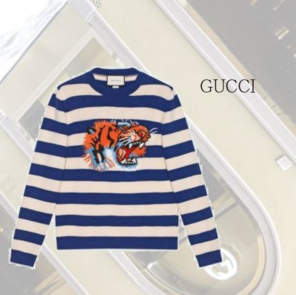 【GUCCI】Striped wool sweater with tiger head