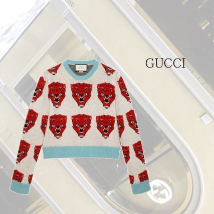 【GUCCI】Tiger jacquard wool knitted sweater