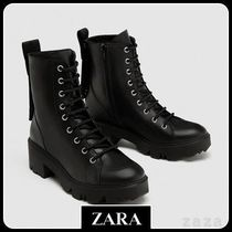 ★ZARA★ザラ  FLAT LEATHER ANKLE BOOTS WITH SLOGAN