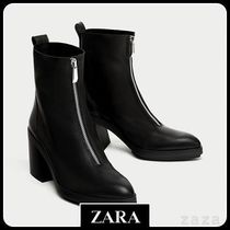 ★ZARA TRF★  HIGH HEEL LEATHER ANKLE BOOTS WITH ZIP
