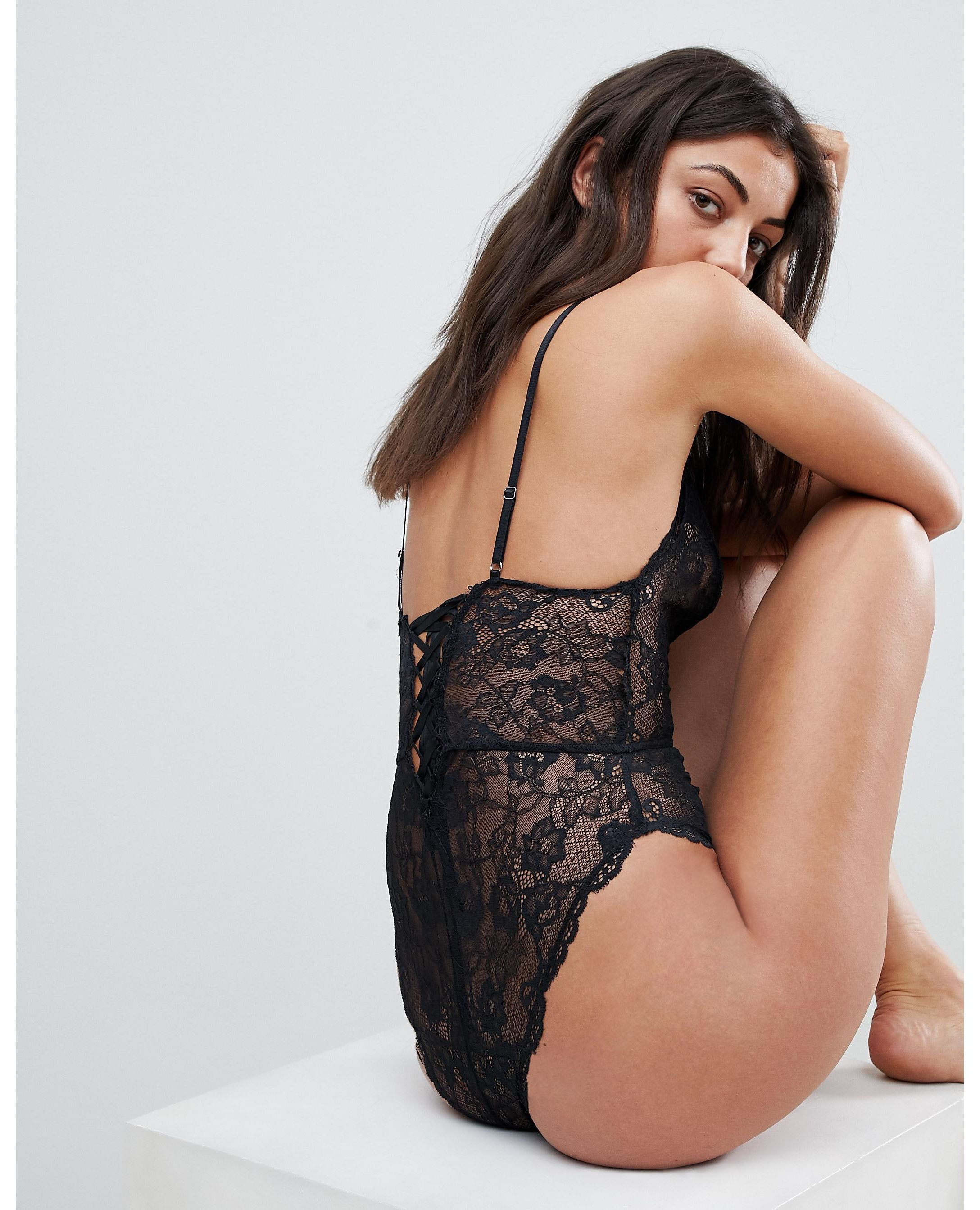 ★ASOS★ TALL Blair High Leg Lace Body  Lace Up バック
