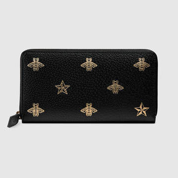 GUCCI 長財布 直営店購入 グッチ☆Bee Star leather zip around wallet