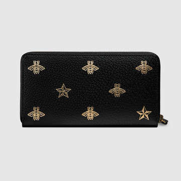 GUCCI 長財布 直営店購入 グッチ☆Bee Star leather zip around wallet(3)