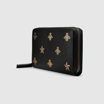 GUCCI 長財布 直営店購入 グッチ☆Bee Star leather zip around wallet(4)