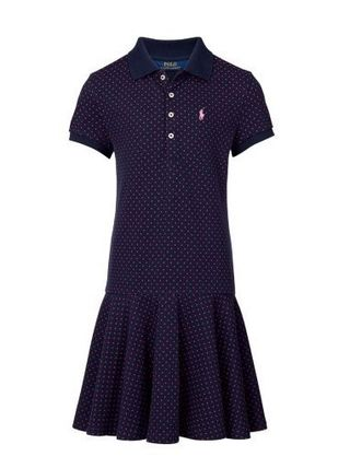 新作!大人もOK ♪ Polka-Dot Mesh Polo Dress girls 7~16