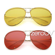 全4色*zeroUV*RETRO OVERSIZE COLOR TINTED METAL AVIATOR SUN
