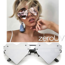 全5色*zeroUV*LASER CUT HEART SHAPE MIRRORED FLAT LENS SUN