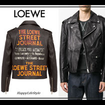 COOL!◇Street Journal Print レザー ジャケット◇LOEWE