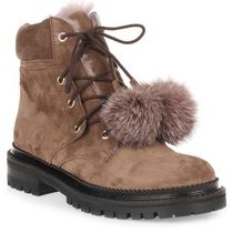 Elba Flat taup suede pom-pom boot レースアップポンポンブーツ
