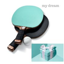 Tiffany & Co★ Leather and Walnut Table Tennis Paddles