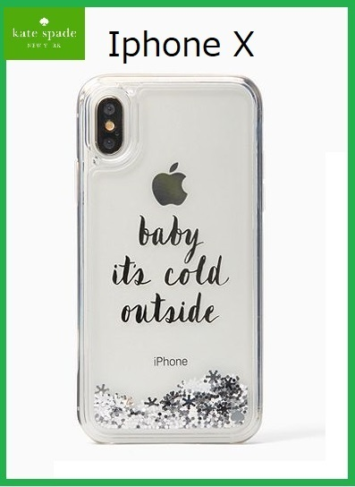 kate spade iphone X 雪の結晶 液体入り baby it's cold outside
