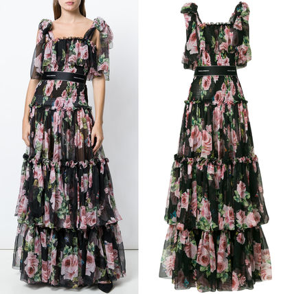 18SS DG1411 ROSE & BUTTERFLY PRINTED SILK CHIFFON GOWN