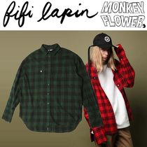 FIFI LAPIN(フィフィラパン) シャツ MONKEY FLOWER(FIFI LAPIN'S)★OVER FIT CHECK SHIRT 2色