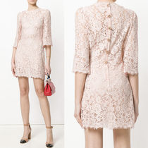 18SS DG1426 CORD LACE MINI DRESS WITH JEWELRY BUTTON
