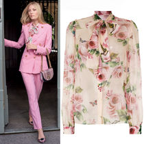 18SS DG1428 ROSE & BUTTERFLY PRINTED SILK BLOUSE WITH BOW