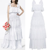 18SS DG1428 COTTON TIERED GOWN WITH LACE DETAIL