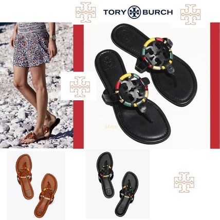 【Tory Burch】MILLER EMBROIDERED LEATHER サンダル2色