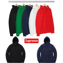 17FW Supreme Patent/Chenille Arc Logo Hooded Sweatshirt 送込