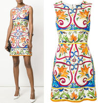18SS DG1430 MAJOLICA PRINT BROCADE MINI DRESS