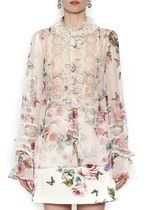 18SS DG1433 ROSE & BUTTERFLY PRINTED SILK BLOUSE