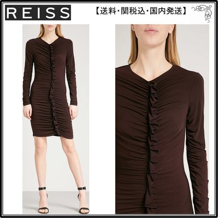 【海外限定】REISS ワンピース☆Harriet ruffled-front stretch-