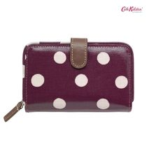 Cath Kidston☆FOLDED ZIP WALLET BUTTON SPOT BURGUNDY