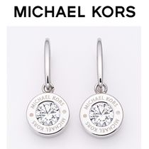 ☆Michael Kors☆Logo Silver-Tone and Crystal Drop Earrings♪