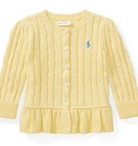 新作♪ 国内発送 Cable Cotton Peplum Cardigan girls 0~24M