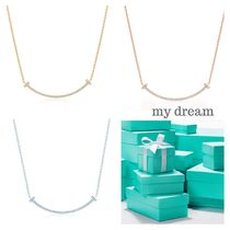 【Tiffany & Co】 T smile Pendant in 18k gold with diamonds
