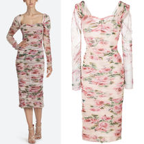 18SS DG1469 ROSE PRINT STRETCH TULLE RUCHED DRESS
