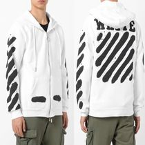 ☆Off-White☆ DIAG SPRAY ZIPPED SWEATSHI WHITE