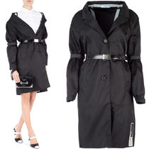 PR994 TECHNICAL FABRIC BELTED COAT WITH RUBBER PATCH