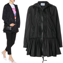 PR1004 NYLON TAFFETA HOODED JACKET WITH TIERED DETAIL