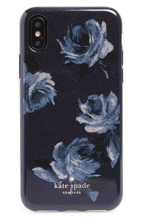 Night rose glitter iPhone X case