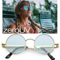 全6色zeroUV*RETRO STEAMPUNK COLORFUL ROUND FLAT LENS SUNGLAS