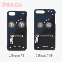 先取り★ロゴ【送料込 PRADA】iPhone 7/8or7+/8+★Zip顔Saffiano