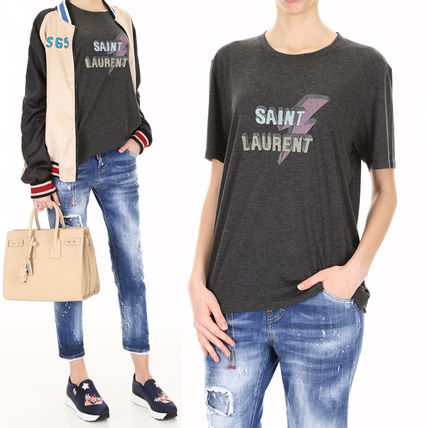 SAINT LAURENT Lightning Bolt Boyfriend T-Shirt