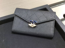 Chanel☆Bi-Color キャビア小さめ財布☆Black x Blue