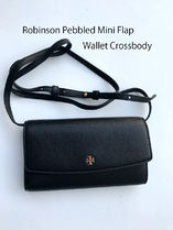 即発 TORY BURCH★Robinson Pebbled Mini Flap Wallet Crossbody