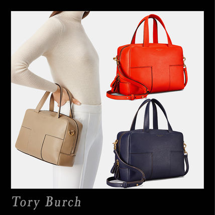 Tory Burch ハンドバッグ Tory Burch☆ブロックティー 2WAY Block-T Pebbled Zip Satchel