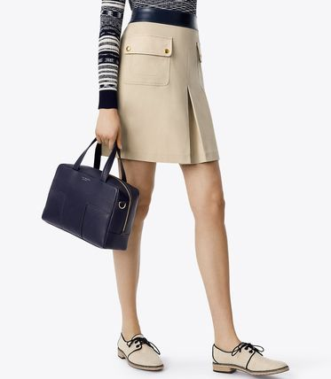Tory Burch ハンドバッグ Tory Burch☆ブロックティー 2WAY Block-T Pebbled Zip Satchel (5)