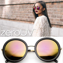 全6色*zeroUV*WOMEN'S GLAM MIRRORED LENS ROUND FASHION SUN