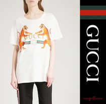 【国内発送】GUCCI Tシャツ Tiger-print cotton-jersey T-shirt