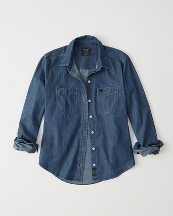 Abercrombie & Fitch ブラウス・シャツ 【国内即発】*Abercrombie & Fitch* デニムシャツ
