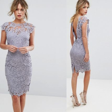 Paper Dolls Midi Lace Dress with Scalloped Back gray グレー