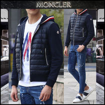 【MONCLER】18SSトリコロール 異素材MIXフードジップアップ/EMS