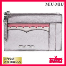 送料・関税込み☆MiuMiu Scalloped Zip Card Holder シルバー