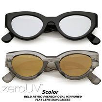 送料無料*zeroUV*BOLD RETRO FASHION OVAL MIRRORED FLAT LENS